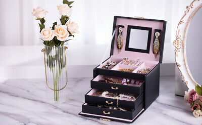 Black White Large Wooden Jewellery Box Necklaces Storage Case Organizer Glass AU