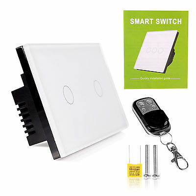 1/2 Gang Touch Light Wall Switch Glass Panel LED Backlight+Remote Control US/ EU