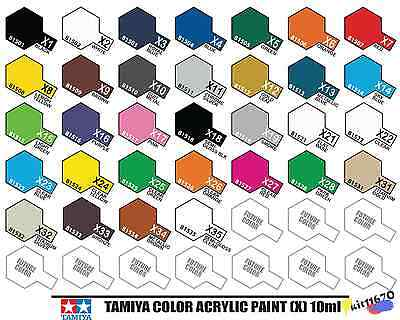 Tamiya Color 81501-81535 X1 to X35 10ml Gloss Acrylic Paint Model Paint UK