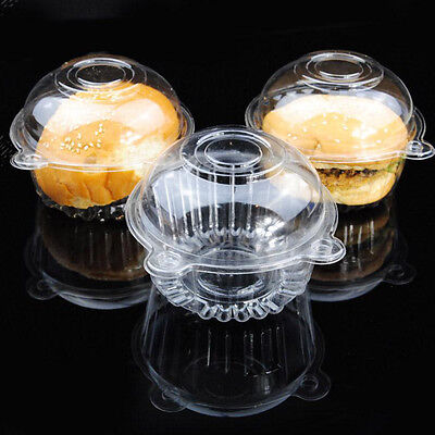 Clear Plastic Cupcake Cake Case 100PCS Muffin Pod Dome Holder Box Container