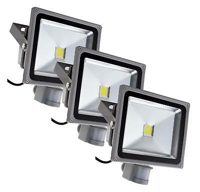 3x LUMIERE PROJECTEUR LED LAMPE 4500K SENSEUR MOUVEMENT D'EXTERIEUR IP65 30W SET