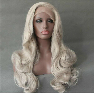 "18-24"" Heat resistant Lace front wig Synthetic hair Body wavy Bleach blonde"