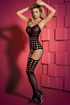 Straps Catsuit schwarz offen Body Stocking transparent Stretch gepunktet G310