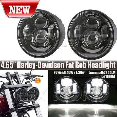 Pair LED Headlight Lights 80W 4.65inch For Harley Davidson Dyna Glide Fat Bob