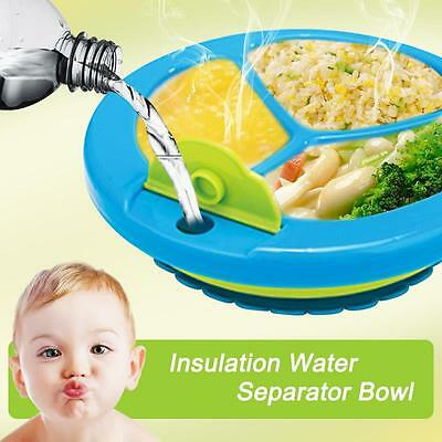 Baby Boys Girls Feeding Plate Water Dish Bowl Divided Plate With Suction