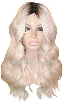 """Remy Human Hair Wig Glueless Front Lace 22"""" Long Blonde 60 Black 1b Roots Moklox"""