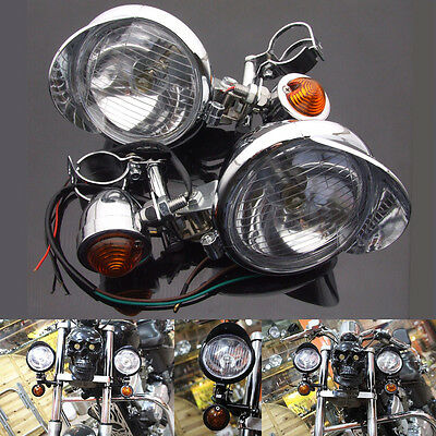 Motorcycle Chrome Turn Signal Driving Spot Passing Fog lights Bar For Harley