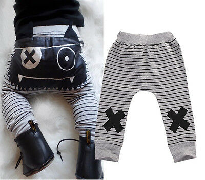 Striped Infant Baby Boys Girls Bottoms Monster Harem Pants Leggings Trousers UK