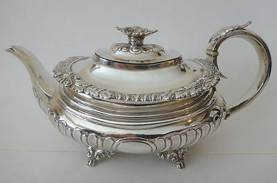 Antique Geo IV solid silver TEA POT by Chas Fox Lon 1823 - 24.3 tr oz Nice cond.