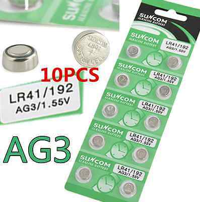 10PCS/set 1.55V AG3 SG3 LR41/192 Alkaline Coin Button Cell Battery For Toy Watch