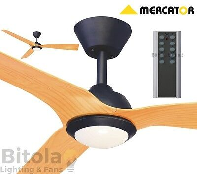 NEW MERCATOR TRINIDAD II BLACK/TIMBER DC LED CEILING FAN 13.5w LIGHT WITH REMOTE