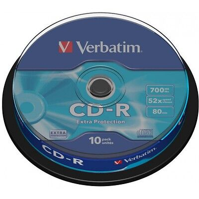 10 x Verbatim CD-R 700mb 52x 80min DataLife Extra Protection In Spindle - NEW