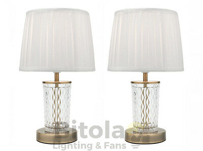 PAIR OF MERCATOR TARYN BEDSIDE TABLE LAMPS ANTIQUE BRASS w/ WHITE SHADE A41411