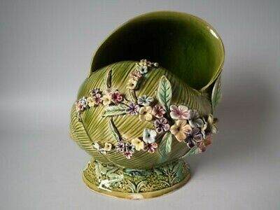 Majolica shell vase with applied flowers