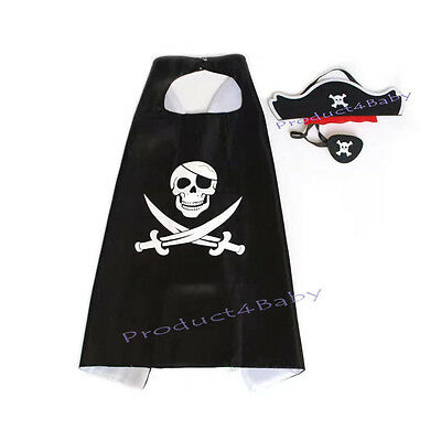 Kids Boy Girl Party Costume Set Pirate Captain
