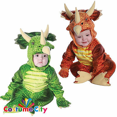 Childrens Toddlers Triceratops Dinosaur Fancy Dress Halloween Party Costume