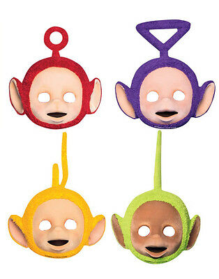 4 x Teletubbies Teletubby La La Po Dipsy Tinky Winky Birthday Party Face Masks