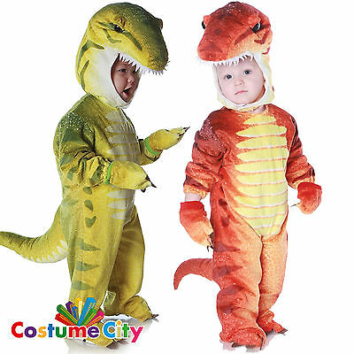 Childs Toddlers Red Green Dinosaur Fancy Dress Halloween Party Costume