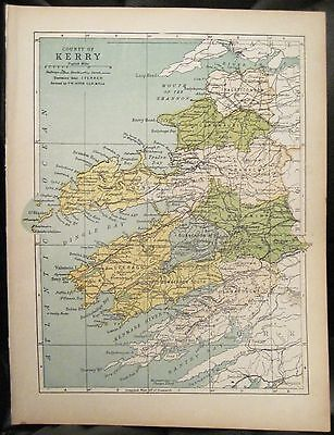Irish Map COUNTY KERRY Ireland Killarney Dingle West Cork PW Joyce 1905 7x9.5