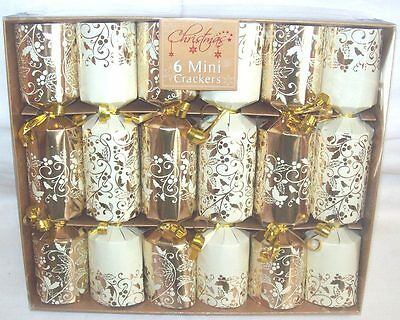 Pack Of 6 Luxury Mini Foiled Christmas Crackers - Gold & Cream Foliage Design