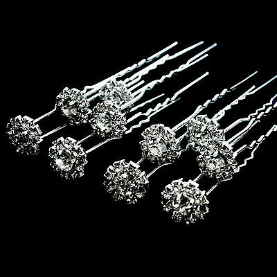6 x Diamante Hair Pins Clips Grips Slides Crystals Flower Bridal Party S4-06