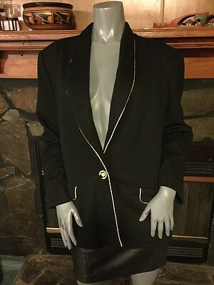 Vintage 80's Black Gold Trim Long Sleeve Jacket By Henry Lee Size XL