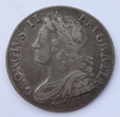 George II Shilling 1739 aVF / VF 1/- condition English silver shilling coin  662