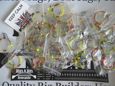 Sea fishing Rigs x 30 Strong Shore Rigs - Quality Hand Tied Rigs - 2 stickers