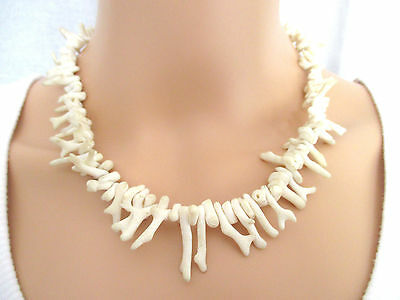 """Vintage White Natural Raw Coral Branch & Bead Necklace 17"""""""