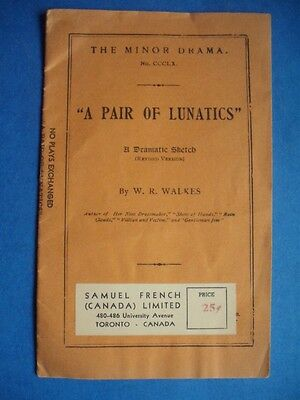 Pair Of Lunatics Vintage Dramatic Sketch Play Book Samuel French Toronto Canada