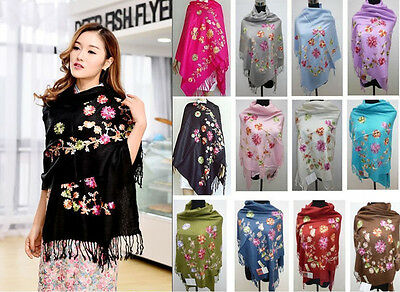 Lady's Soft Cashmere Pashmina Embroidered Shawl Shawls/Scarf Scarves/Wrap