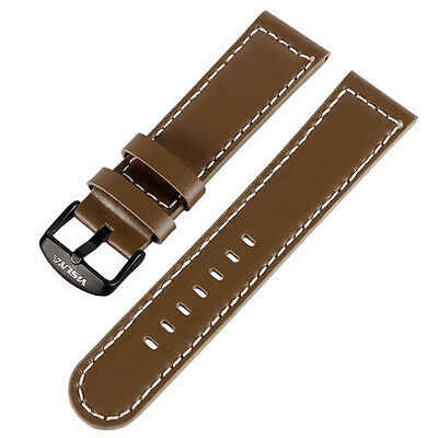 YISUYA 22mm Smooth Genuine Leather Band Watchband Replacement Brown Watch Strap