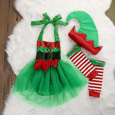 Cute Newborn Baby Girl Romper Jumpsuit Playsuit Leg Warmers Christmas Outfit Set