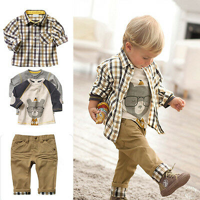 Baby Boys Kids Toddler 3PCS Long Sleeve Checked Casual T-Shirt Tops Pants Outfit