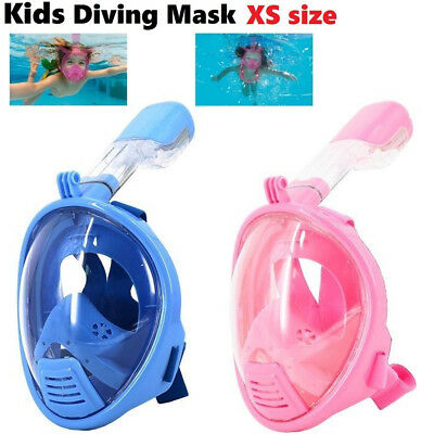 Kids XS Size Breath Full Face Mask Surface Diving Snorkel Scuba for GoPro Swim