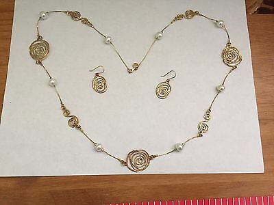 """NOA ZUMAN Sterling Silver Gold Plated Pearl Station 30"""" Necklace Earrings Set"""