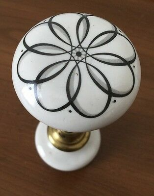 Vintage White Porcelain Door Knobs Set of 2 Black Floral Design Unique