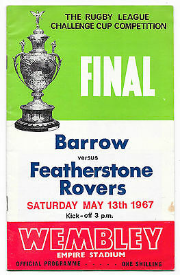 1967 - Barrow v Featherstone Rovers, Challenge Cup Final Match Programme.