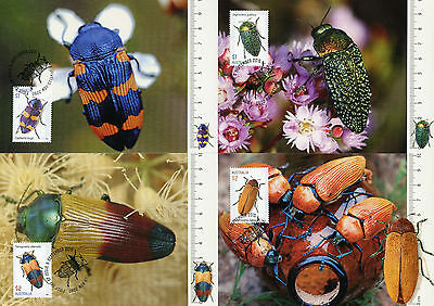 Australia 2016 MAXI Jewel Beetles 4v Set Maxi Cards Beetle Insects Stamps