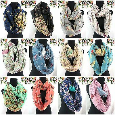 US SELLER-10pcs vintage birds branch floral double loop infinity scarf cowl wrap