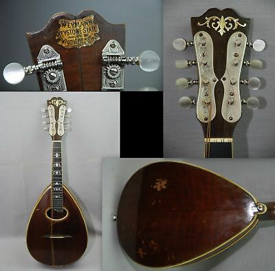 1915-1920 Weymann Keystone Mandolin Mandolute w Case 28961 No.50 Fancy MOP Inlay