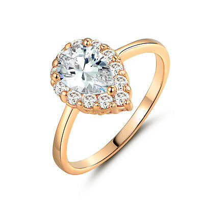 HUCHE Elegang 18k Gold Filled Raindrop 6*8mm Diamond Clear Sapphire Lady Rings