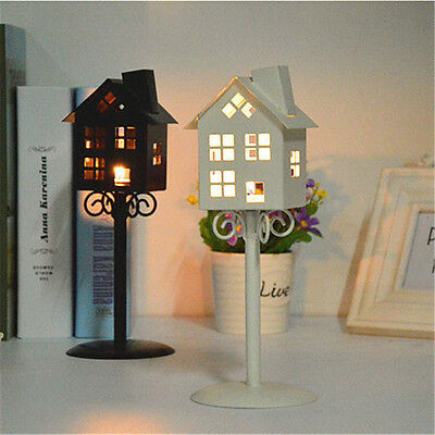 Retro House Streetlights Style Iron Hollow Candle Holder Tealight Candlestick