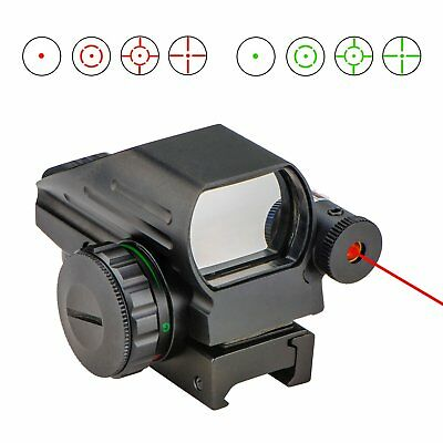 1x22x33 Reflex Sight Red and Green 4 Reticle Dot Sight with Red Laser Sight