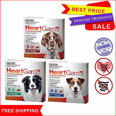 Heartgard Plus 6 Chews All Sizes Heartworm Treatment by Merial for Dog AU Seller