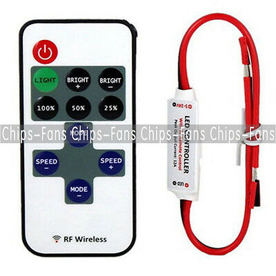 Mini 12V RF Wireless Remote Switch Controller Dimmer for LED Strip Light CF