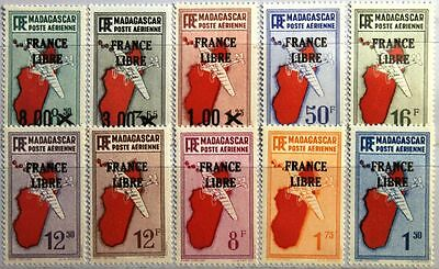 MADAGASCAR MALAGASY 1943 335-44 C27-36 FRANCE LIBRE ovp Airpalens Flugzeuge MNH