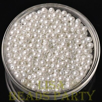 New 100pcs 4mm Round Glass Pearl Loose Spacer Beads Jewelry Making Pure White
