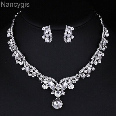 Elegant Crystal Leaf Silver Necklace and Earrings Bridal Wedding Jewellery Set