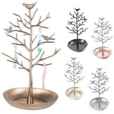 Birds Tree Jewelry Stand Display Vintage Earring Necklace Ring Holder Rack Tower